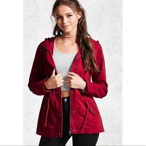 Red Hooded Cargo Utility Jacket w/Drawstring